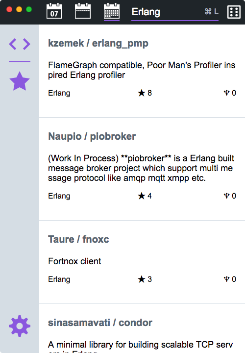 Main page of Traverse, searching for monthly trending Erlang repositories