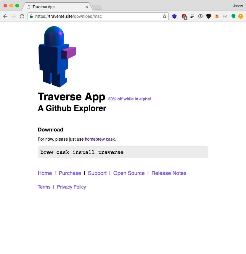 Traverse website download page
