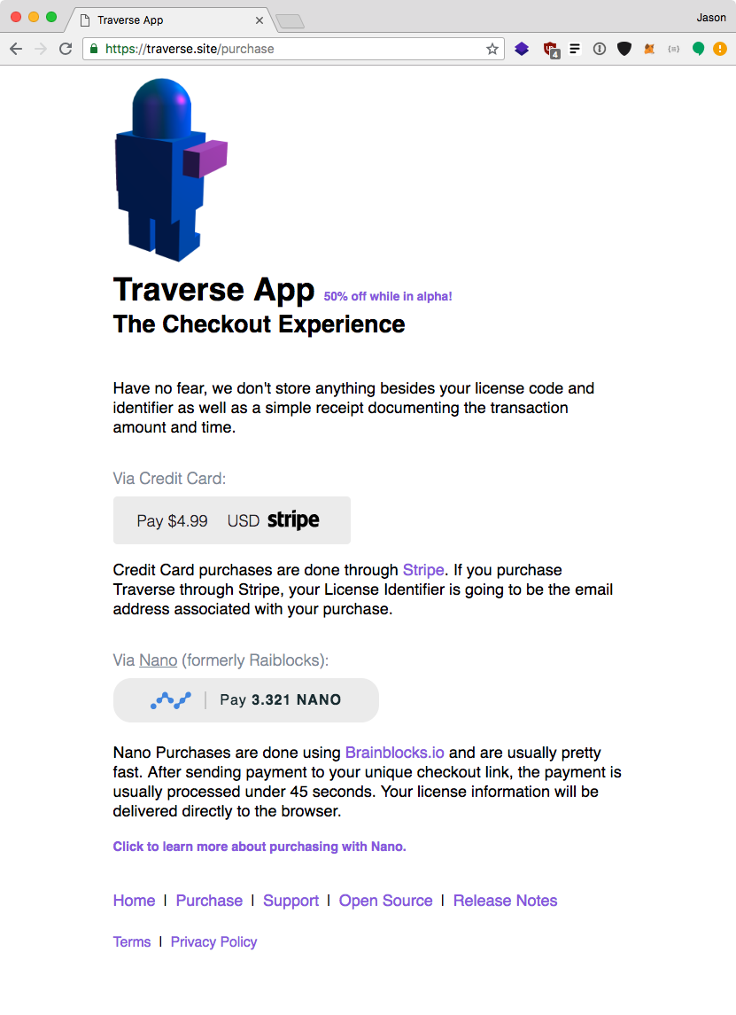 Traverse website purchase traverse page