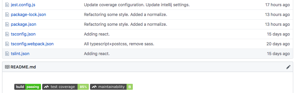 Test coverage badges in GitHub README.md